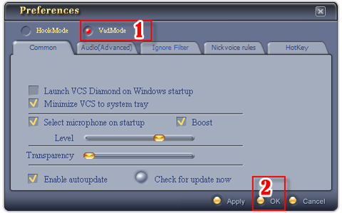 Fig 2 -  Change from Hook mode to Virtual Audio Driver (VAD) mode [Preferences  dialog box]