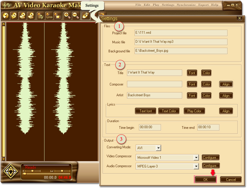 Figure 4: Settings for title and lyrics