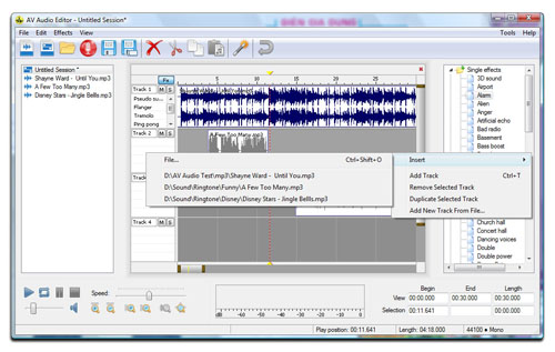 AV Audio Editor - Create new Multitrack Insert Files Screenshot