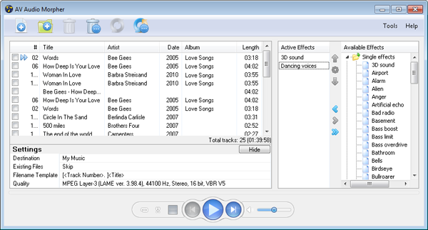 Audio editing tool for morphing audio file
