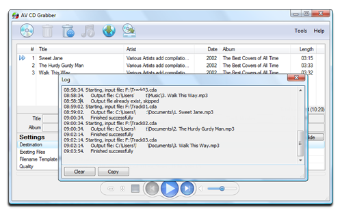 AV CD Grabber - Conversion log Screenshot