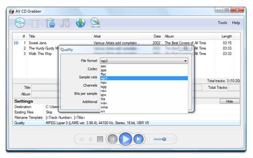 AV CD Grabber - Output Formats Screenshot