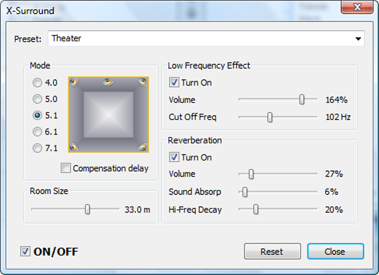 Media Player Morpher - x-surround effect screenshot