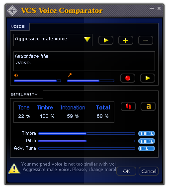 Advanced panel: Non-human Voice Effects of Voice Changer Software