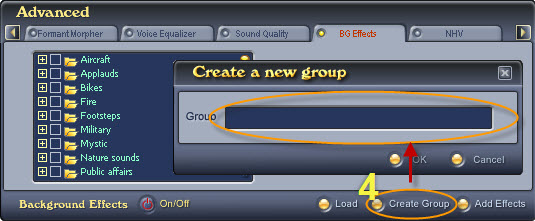Fig. 3 - Create a new background effect group [Bg Effects tab]