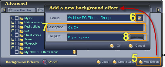 Fig. 5 - new background effects into the new group [Bg Effects tab]