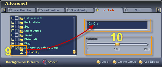 Fig. 7 - Choose the background effect and adjust its volume [Bg Effects tab]