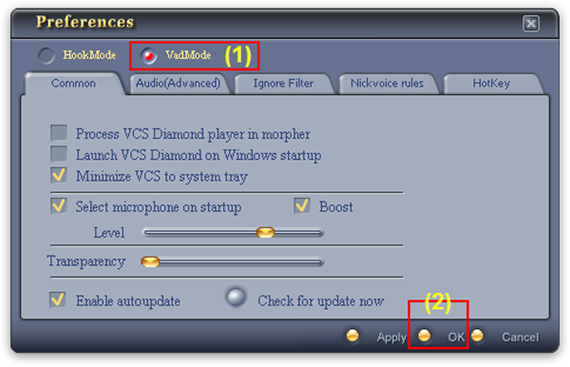 Fig. 2 - Change from Hook mode to Virtual Audio Driver (VAD) mode [Preferences dialog box]