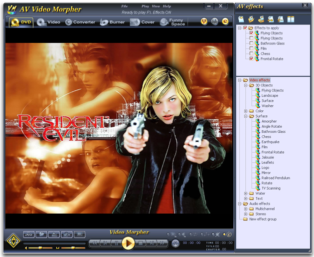 Play morph dub convert & burn movies;add audio/video effects to movies &a wonderful Screen Shot