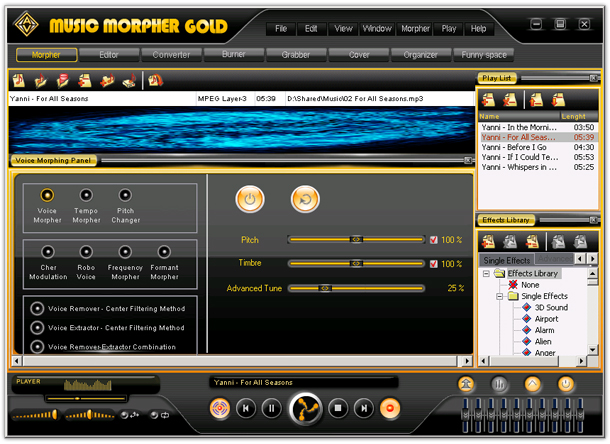 An advanced Digital Audio and DJ Workstation includes virtual Easy DJ, multi-format audio player, recorder, tempo and beat changer, studio-quality audio effects, voice remover and extractor, wave editor, versatile converter, ripper, burner, and more