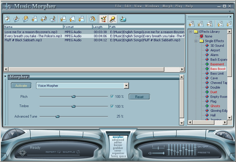 Click to view AV Music Morpher 5.0.52 screenshot