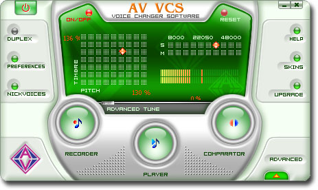 Voice Changer Software VCS - mask, alter, anonymous, morpheus, webcam - Change your voice over Internet and PC2Phone. Record voice outputs in real time