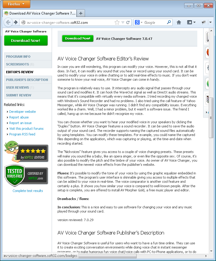 Soft32 com editors' review for AV Voice Changer Software 7 0