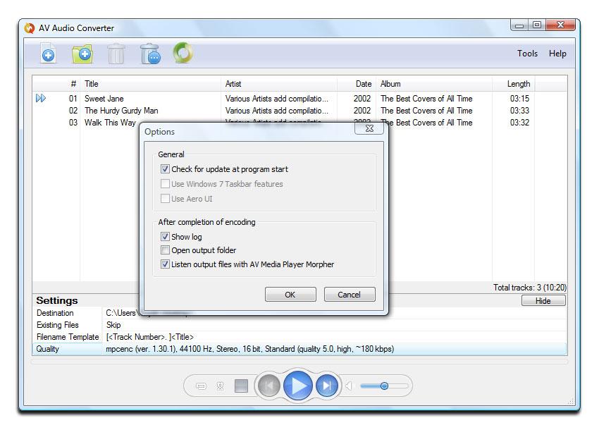 AV Audio Converter - Convert between MP3, WAV, WMA, AAC, OGG