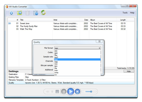 AV Audio Converter - Encoding Settings Screenshot