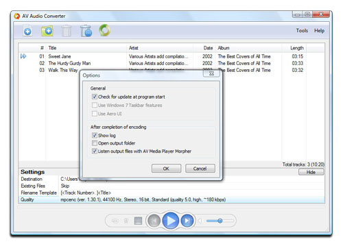 AV Audio Converter - Options dialog box Screenshot