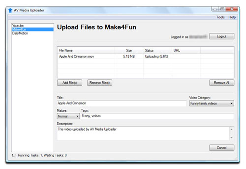 AV Media Uploader - Upload Files to Make4Fun