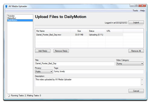 AV Media Uploader - Upload Files to DailyMotion