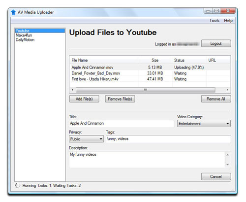 AV Media Uploader - Upload Files to Youtube