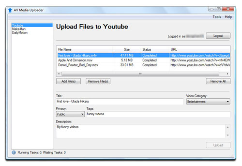 AV Media Uploader - Upload Files completed