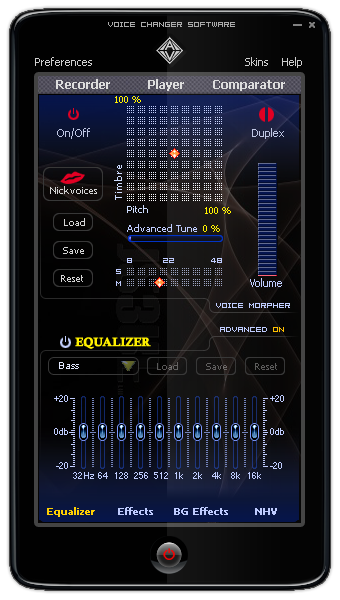 Main Panel of Voice Changer Software 7.0