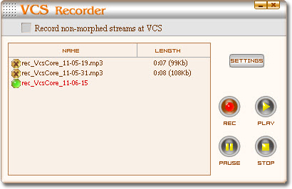 Screenshot of Voice Changer Software  Gold's Recorder Panel