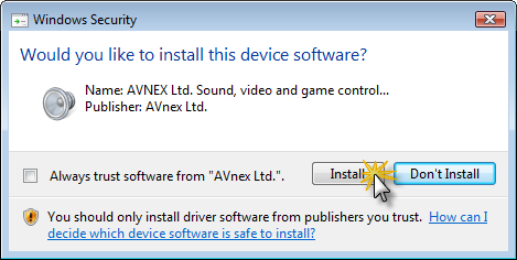 Fig 4 - Hardware Installation warning window from your OS popup, click Install to continue and finish VCS installation process